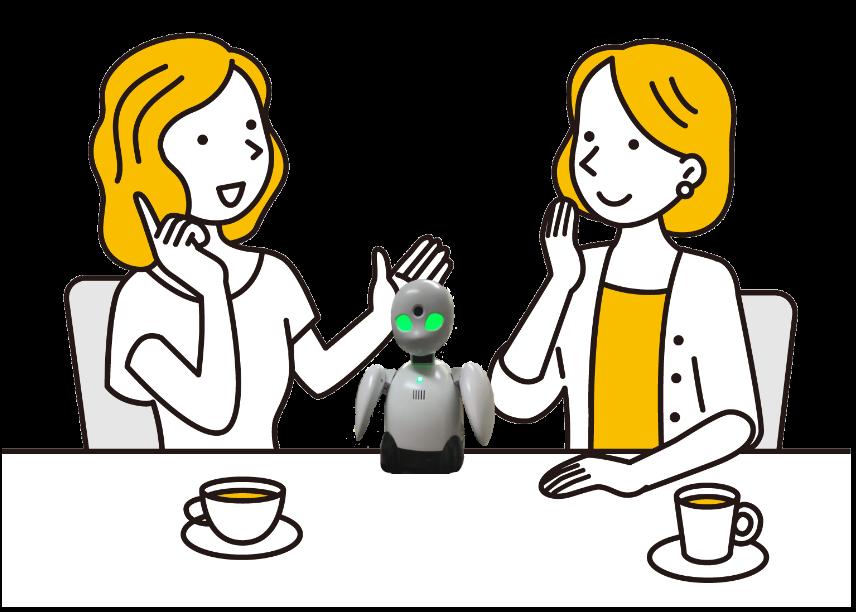 OriHimeと友人2人とお話ししている状況