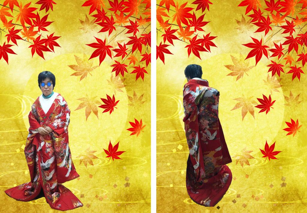 ある神社で試着した簡易的な色打掛け。左側が正面、右側が後ろ側。